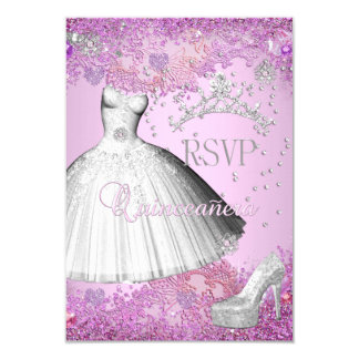 RSVP Reply Quinceanera Pink Tiara Dress Shoe 9 Cm X 13 Cm Invitation Card