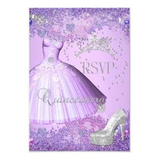 RSVP Reply Quinceanera Purple Tiara Dress Shoe 9 Cm X 13 Cm Invitation Card