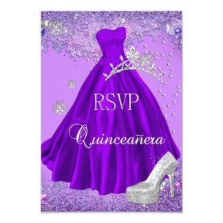 "RSVP Reply Quinceanera Purple Tiara Dress Shoe 3.5"" X 5"" Invitation Card"