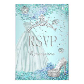 RSVP Reply Quinceanera Soft Teal Tiara Dress Shoe Card