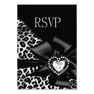 RSVP Reply Response Any Party Leopard Black Silver Custom Invite