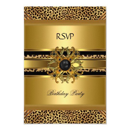 RSVP Reply Response Elegant Leopard Gold Black Card