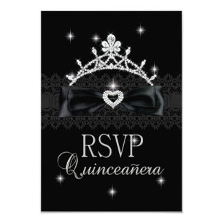 RSVP Reply Response Party Purple Black Lace Card