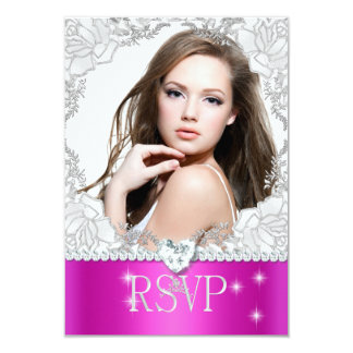 RSVP Reply Response Pink White Quinceanera Photo 9 Cm X 13 Cm Invitation Card
