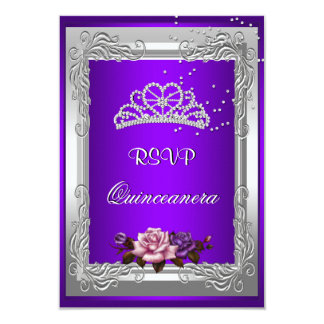 RSVP Reply Response Purple Silver Rose Quinceanera 9 Cm X 13 Cm Invitation Card