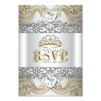 RSVP Reply Response Silver White Gold Quinceanera Card
