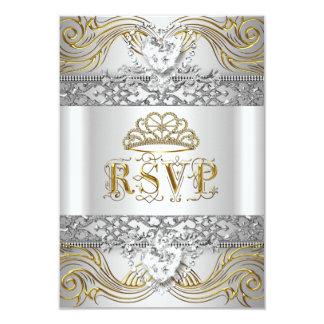 RSVP Reply Response Silver White Gold Quinceanera 9 Cm X 13 Cm Invitation Card