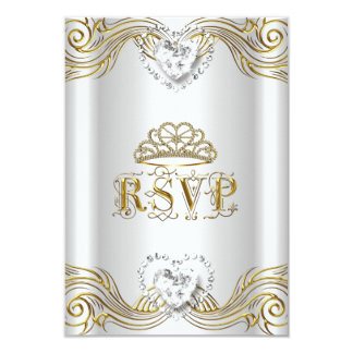 """RSVP Reply Response Silver White Gold Quinceanera 3.5"""" X 5"""" Invitation Card"""