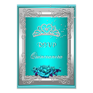 RSVP Reply Response Teal Silver Roses Quinceanera 9 Cm X 13 Cm Invitation Card