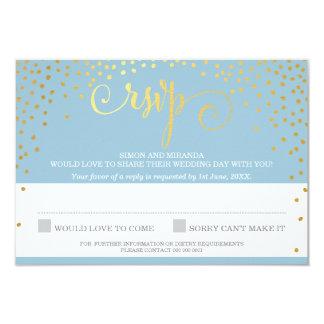 RSVP REPLY stylish rustic mini gold confetti blue 9 Cm X 13 Cm Invitation Card