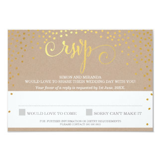 RSVP REPLY stylish rustic mini gold confetti kraft 9 Cm X 13 Cm Invitation Card