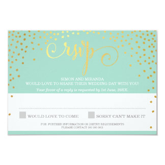 RSVP REPLY stylish rustic mini gold confetti mint 9 Cm X 13 Cm Invitation Card