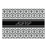 RSVP Response Card in Stylish Black & White Damask Personalised Announcement