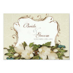 RSVP Response Card Vintage Magnolia Swirls Damask 9 Cm X 13 Cm Invitation Card