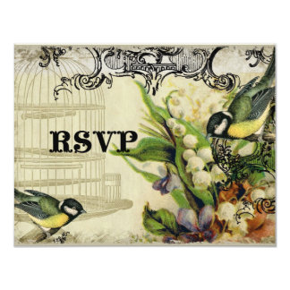 RSVP Response Card - Yellow Song Bird Cage Floral