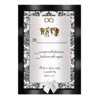 RSVP response cards black and white Personalized Announcements