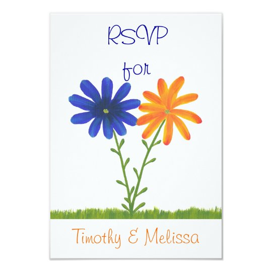 RSVP Response Cards, Blue & Orange Flowers Card