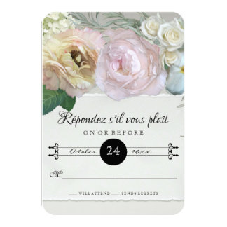 RSVP Response French Flower Market Art Grey Ombre 9 Cm X 13 Cm Invitation Card