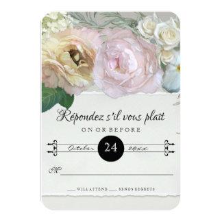 RSVP Response French Flower Market Art Grey Ombre 9 Cm X 13 Cm Invitation Card
