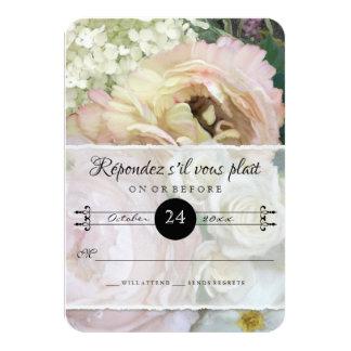 RSVP Response French Flower Market Peony Hydrangea 9 Cm X 13 Cm Invitation Card