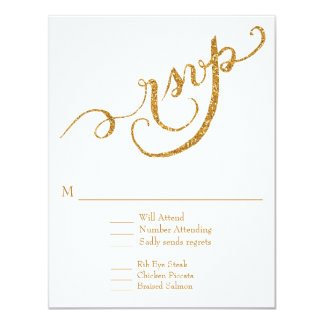 RSVP Response Script Forever in Love Gold Glitter 11 Cm X 14 Cm Invitation Card