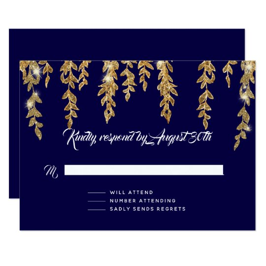RSVP Response Simple Willow Leaf Twinkle Lights Card