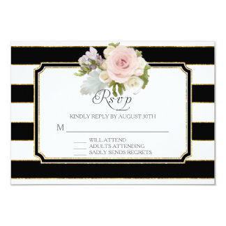 RSVP Rose Floral Modern Elegant Black White Stripe 9 Cm X 13 Cm Invitation Card