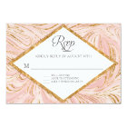 RSVP Rose Gold Faux Glitter Marble Blush Paper Card