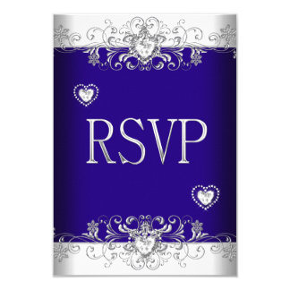 RSVP Royal blue Wedding White Diamond Hearts 2 Card