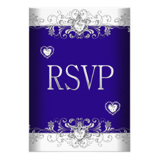 RSVP Royal blue Wedding White Diamond Hearts 2 Custom Announcements