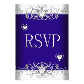 RSVP Royal blue Wedding White Diamond Hearts 2 3.5x5 Paper Invitation Card