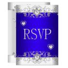 RSVP Royal blue Wedding White Diamond Hearts Card