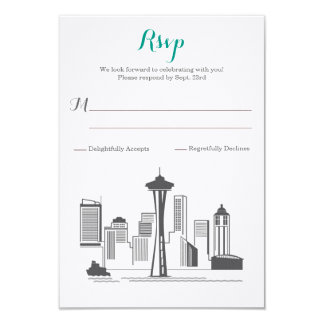 RSVP Seattle Skyline Wedding Card