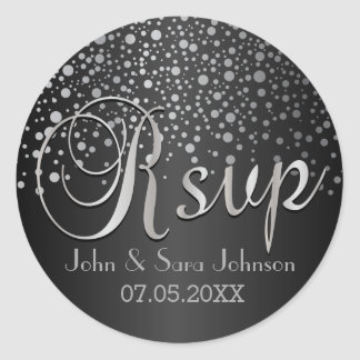 RSVP | Silver Dots and Black | Personalize Round Sticker
