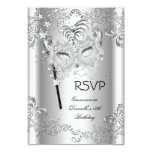 RSVP Silver Quinceanera 15th Birthday Masquerade 9 Cm X 13 Cm Invitation Card