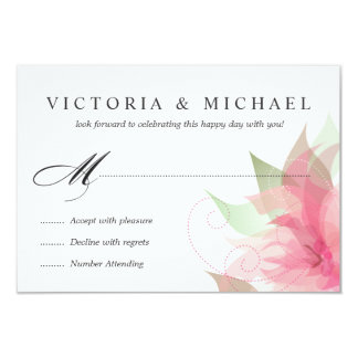 RSVP Stargazer Pink Watercolor Floral Reply Cards 9 Cm X 13 Cm Invitation Card