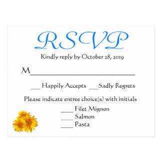 RSVP Sunflower Blue Floral Wedding Postcard
