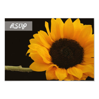 RSVP Sunflower Photo on Black Cards 9 Cm X 13 Cm Invitation Card