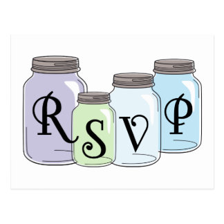 RSVP text design with mason jars Postcard