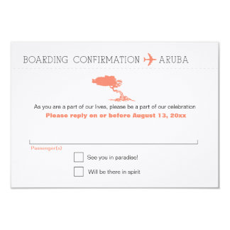 RSVP to Aruba Boarding Pass Card