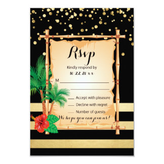 RSVP Tropical Beach Palms Gold Black Wedding Card