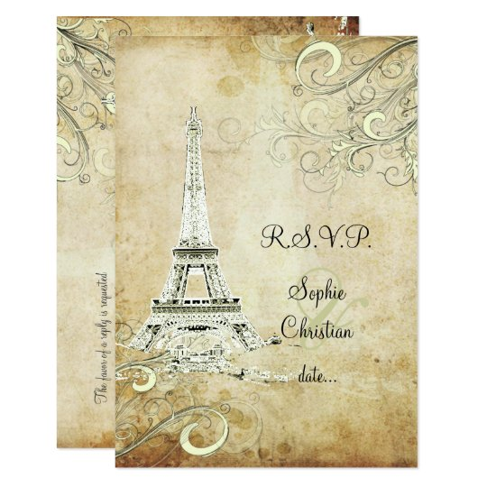RSVP VINTAGE EIFFEL TOWER/VANILLA SWIRLS 9 CM X 13 CM INVITATION CARD