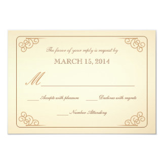 RSVP Vintage Scrolls Modern Wedding Reply Card 9 Cm X 13 Cm Invitation Card