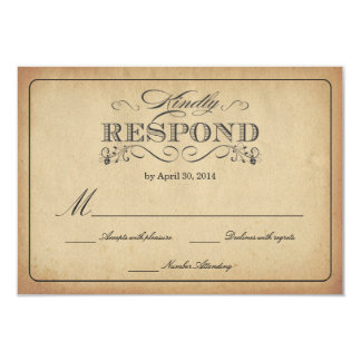 RSVP Vintage Stained Parchment Wedding Reply Card