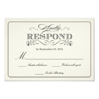 RSVP Vintage White Wedding Reply Cards 9 Cm X 13 Cm Invitation Card