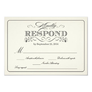 RSVP Vintage White - with Song Request 9 Cm X 13 Cm Invitation Card