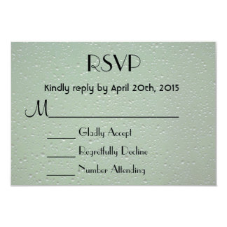 "RSVP Water Droplets on a Green Background 3.5"" X 5"" Invitation Card"