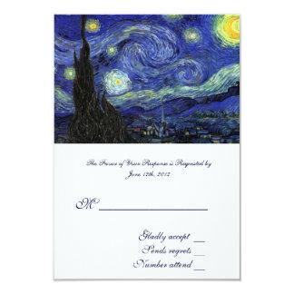 RSVP, wedding acceptance card, Starry Night 9 Cm X 13 Cm Invitation Card