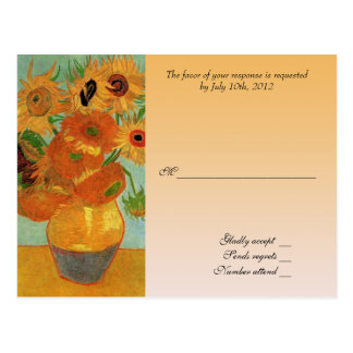 RSVP wedding acceptance card, van gogh sunflowers Postcard