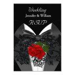 RSVP Wedding Black White Tuxedo Deep RED Rose 9 Cm X 13 Cm Invitation Card